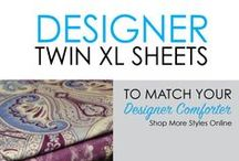 Designer Twin XL Sheets / For fun style to add to your dorm room decor, look no further than DormCo's large selection of Designer Twin XL Sheets! We have a huge selection of different designer styles for your Extra Long Twin Sheets that you can mix and match with our matching Twin XL Comforters for College.