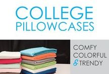 College Pillowcases / College pillowcases are as necessary for your dorm bedding as your Twin XL College Comforter and Extra Long Twin Sheets. Here at DormCo, we know college pillowcases add as much to your dorm room decor and dorm bedding as your comforter for college does so we offer you a variety of colors and designs that will add some fun style to your college dorm bedding.