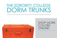 The Sorority College Dorm Trunks / Trunks for college are a dorm essential for extra dorm room storage, but they can also add to dorm room decor too! Our Sorority College Dorm Trunk comes in a variety of colors that you can mix and match with your dorm bedding or other college supplies. These college trunks have a ridged exterior for durability, handles, and the large size has two wheels for easy transport.