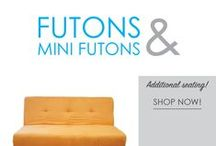 Futons & Mini-Futons / Soft dorm seating is in short supply in college. Your college will provide you with your dorm bed and desk dorm chair to sit on, but other than that you're stuck with the cold, hard dorm floor. You're going to want other soft dorm seating options for when you have friends over and when you just want to relax and study somewhere comfortable.