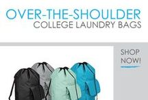 Over-The-Shoulder College Laundry Bags / Here you will find our Over The Shoulder College Laundry Bags. These are a great option for easily carrying your college laundry to the dorm laundry room. What makes these so different from standard college laundry bags is the ability to carry them on your back! That's right, these are dorm laundry backpacks! Carry them on your shoulders and you can more evenly distribute the weight of your laundry on both shoulders.