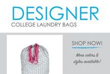 Designer College Laundry Bags / Who said your college laundry bag couldn't be as stylish as your dorm bedding! With our cute Designer Dorm Laundry Bags, your laundry bag for college can be as cute as your dorm bedding or dorm rug and be an addition to your dorm room decor! DormCo offers a wide variety of styles for you to choose from so you can choose your favorite style or color and walk down to the dorm laundry room in style!