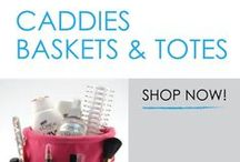 Caddies, Baskets, & Totes / Dorm caddies are essential college shower supplies. Whether you're sharing a community bathroom on your dorm floor or have your own bathroom, you will need some dorm caddies and dorm shower bags to hold all your bathroom accessories.