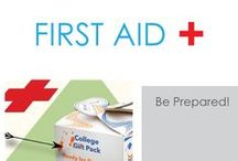 First Aid / We hope you never need these, but it is a good idea to have them! To start college out right, you need to have a dorm First Aid pack in your college supplies. These aren't the fun dorm essentials that you'll be buying, but you never know when you're going to need these college supplies.