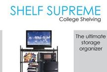 Shelf Supreme College Shelving / In this section you will find DormCo's selection of Shelf Supreme Adjustable Shelving. Our Shelf Supreme dorm shelving units are durable and provide a lot of dorm room storage space while still being practical for your college dorm room. The frames of these dorm essentials minimize dust and allow venting for your dorm electronics, which is important.