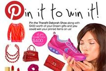 """Pin to Win Deborah Board / How To Enter: Step 1: Go to www.therafitshoe.com/pinit & enter.  Step 2:  Follow us on Pinterest. Step 3:  Create up to 5 boards by starting here. Pick your favorite Therafit Shoe and use it as your inspiration  to pin at least 4 other Dream Items totaling $400, to make your own board titled: """"Therafit Personal Gift Guide- Pin it to win it"""".  Include the hash tag #therafitgives #Therafit, #pintowin & www.therafitshoe.com  Add PRICE Tags to all pins. Be creative, the MOST repins wins!"""