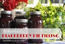 All about blackberries / On our farm blackberries grow wild and pick about 10 gallons each year.  From jam to pies you will always find a yummy blackberry treat at my house.