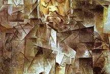 Cubismo Sintético / En El Portugués (1911) de Braque aparecen palabras y números, lo que abrió una nueva vía que llevó al segundo período del cubismo, el cubismo sintético(1912-1914).  Picasso y Braque comenzaron a incorporar material gráfico como páginas de diario y papeles pintados, técnica que se conoce como collage.  El color es más rico que en la fase anterior, las obras son más sencillas. Los objetos ya no se reducen a volúmenes y planos expuestos en diversas perspectivas hasta ser irreconocibles.