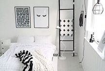 white and black bedroom wall