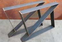 Metal Table Legs / If you build things with wood, odds are at one time or another you investigated what your options were for metal table legs.  You don't have to be a metal worker to take advantage of metal legs - many can be purchased on Amazon and Etsy.  Everything from wrought iron to steel welded legs can be used, in every unique design you can think of.  Here are some ideas for inspiration.