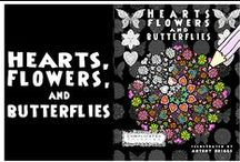 Hearts, Flowers and Butterflies - Complicated Coloring / Hearts, Flowers and Butterflies - Anti Stress adult coloring book.
