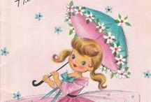 Sweet Storybook Girls / I adore storybook illustration and collect as many cards with storybook girls on them.