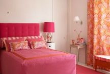 Pink and Orange Bedrooms / Love the color combination of pink and orange.