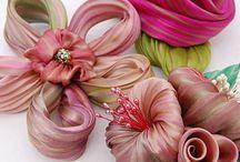 Flower fabric ribbon