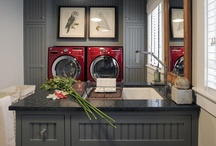Laundry Rooms / Incredible laundry rooms. These are so pretty, doing laundry wouldn't be a chore. You can work on your computer or watch TV - these laundry rooms have space to multi-task. / by Angela Thompson