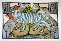 contemporary art:  Edward & Richard Bawden / Father and son Edward and Richard Bawden shared distinctive linear style, as well as an appreciation of the cat as a subject. (Edward Bawden  began his career at the age of seven, by studying and copying Louis Wain's drawings of cats.) / by Cat Museum