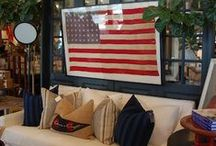 RED WHITE & BLUE / What's red, white & blue patriotic décor, patriotic interiors, American flags.