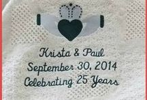 Personalized Wedding Blankets / Anniversary and wedding blankets personalized with embroidered messages, names or dates. Looking for a Wedding Gift Ideas? A personalized custom embroidered cotton throw for makes the perfect Wedding Gift for Bride and Groom. / by Li'l Inspirations - Personalized Wedding Handkerchiefs, Blankets and One of Kind Baptism Gifts Custom Embroidered