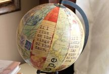 Globe & map love / I'm the dork who kept all those folded up maps that came in our National Geographic magazine!! / by Cheryl Engstrom