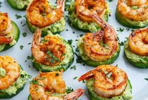 Seafood appetizers / Small bites for large and small crowds using Mexican spices, seafood, shrimp, fish, tortillas and peppers.