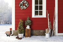 Rustic Christmas / Rustic Christmas decor and signs in whites, greys, reds.