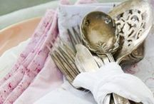 A Thoughtful Table / Vintage linens, beautiful tableware, antiqued silver, and other aspects of a mindful meal...