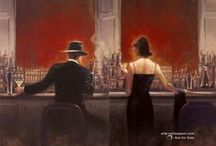 paitings I love and want / I have a certain taste for art, and love paintings that are poetic, passionate, capture moments, make me think of others that have come into my life, think Edward Hooper, Brent Lynch, Jack Vettriano, Van Gogh, Dali, Caravaggio.