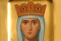 Icons holy women with crowns / Theodora, Katherine, Irina, Helena