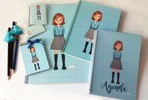 School supplies - material escolar / Material escolar personalizado. Cuadernos, carpetas, agendas, etiquetas adhesivas.