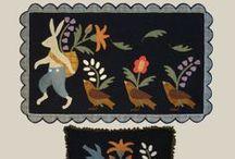 primitive, penny rug and folk art