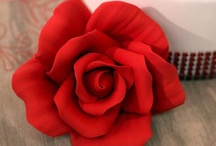 Gumpaste Roses / ReadyMade Gum Paste Roses & cake designs for the classic rose cake.  All you have to do is take them out of the box and place them on your buttercream or rolled fondant cake.  DIY easy.  Made of Sugar.  Edible. #Caljava / by CaljavaOnline.com