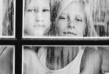 window / through the window, reflections, cars,rain, portrait, black&white, teens, women, children