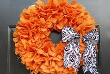 "Wreaths to Welcome You / A wreath is a symbol of ""welcome"".  I have wreaths all over my house.  Many of the wreaths pinned here are handmade and I'm anxious to try some of them to sell at my craft shows.  Yarn wreaths seem to be very popular especially with the felt flowers.  I never knew until Pinterest there were so many ways to make wreaths and flowers. / by Sharon Dennison"
