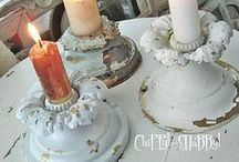 """Candlestick Creativity / I love candles and candlesticks, especially chippy """"shabby chic"""" ones.  Who knew there were so many ways to make your own candlesticks?  And there are so many places to buy inexpensive bases and jars to put together to make great ones.  You can also watch for great buys at garage sales.   / by Sharon Dennison"""