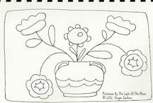 Drawings to Use and Create / There are so many drawings from which to make stitcheries.  Some of these could even be made into wool felt pillows or hooked rugs.  You have to let your imagination roam with these drawings.  These pins range from simple primitive to detailed paisleys.   / by Sharon Dennison