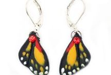 Butterfly Earrings / Hand sculpted butterfly earrings made with clay. / by Stranded Treasures