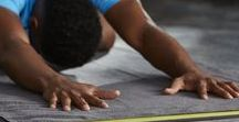 Athletic Yoga / Longer mats and towels and denser, sturdier props for the athletic yogi.