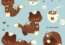 디저트 고양이,강아지 그리기