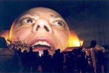 """Krzysztof Wodiczko / (Varsovia, 1943)  """"Wodiczko impugna """"el silencio"""" de la monumentalidad de los edificios y reclama la activación de éstos en un examen de las nociones básicas de los derechos humanos, la democracia, así como la realidad de la violencia, la alienación y la inhumanidad en la urbanización social.  (...) (convierte) en espectáculo sus intervenciones en estos espacios públicos (para difundir) sus mensajes críticos."""" - Modesta di Paola / by Santiago G"""