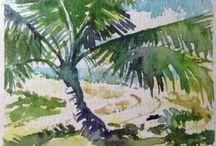 Watercolor paintings / My tropical watercolor paintings of Hawaii
