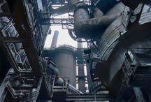 Pipe industrial /  パイプ 地下 工場 小道 配線 蒸気 電線 factory  電線 線路 鉄塔 トンネル #㍿人間設計 комбинат industrial