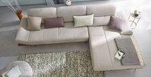hülsta sofa hs.420 / hülsta sofa hs.420 Sofa mit Rückenfunktion / Rampe in Nussbaum / Stoff Jil grau / made in Germany