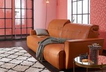 hülsta sofa hs.400 / hülsta sofa hs.400 Sofa mit Rückenfunktion / Leder cognac / Karl ocker braun / made in Germany