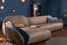 hülsta sofa hs.480 / hülsta sofa hs.480 Sofa organische Form / Liegewiese / Vintage Leder grau / Yves braungrau / made in Germany