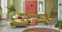 hülsta sofa hs.430 / hülsta sofa hs.430 schlankes Sofa mit Rückenfunktion / Stoff Vivienne-2 grün farngrün / Muster Fischgrät / made in Germany