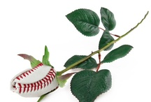 Baseball Rose / The Baseball Rose features petals handmade from authentic baseball leather forming an unforgettable bloom that lasts a lifetime.  Swing for the heart!  www.baseballrose.com