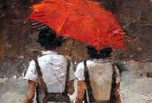 Andre Kohn / paintings done with knife / by D