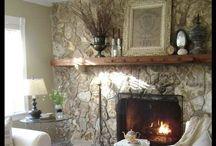 Living room / Neutral living room, beam mantle, wood burning stove