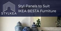 Styl-Panels for IKEA BESTA Furniture / Styl-Panels to customise IKEA BESTA furniture. Be inspired by our rigid 3mm thick,  luxe peel-and-stick overlays that come in paintable white, as well as mirrored silver and gold. Perfect for IKEA hacks, furniture customisation, DIY projects, DIY home decor and more.