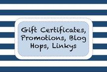 Gift Certificates • Promos • Blog Hops • Linkys / Wish you knew where the best TpT Teacher-Author linky parties were happening? Look no further. Check out these great promotions, blog hops and even Teachers Pay Teachers gift certificates here!
